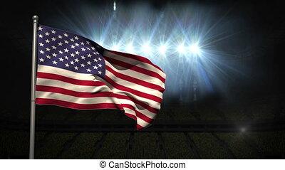 United States of america national flag waving on flagpole on...