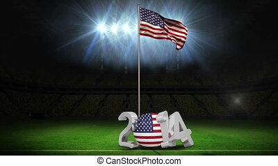 United States of America national flag waving on football...