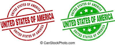 UNITED STATES OF AMERICA Round Watermarks with Unclean Style