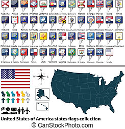 Vector of map United States of America with all states flags collection