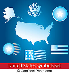 United States of America symbol set. Blue style. Flag, map, seal, badge and person icon.