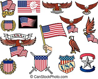 United States of America symbols (american flying eagle holding USA flag, hand holding USA flag, USA coat of arms design, shield and laurel wreath, USA icons)