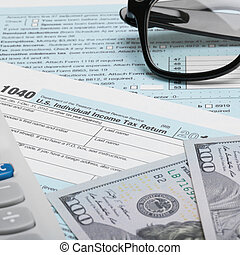 United States of America Tax Form 1040 with calculator, dollars - 1 to 1 ratio