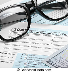 United States of America Tax Form 1040 with dollars and glasses - 1 to 1 ratio