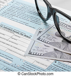 United States of America Tax Form 1040 with glasses - 1 to 1 ratio