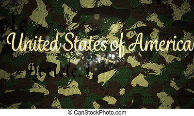 Animation of United States of America text and Constitution text moving over fireworks on camouflage background. American flag patriotism independence concept digitally generated image.