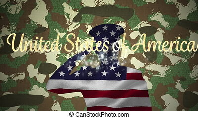United states of america text over silhouette of soldier ...
