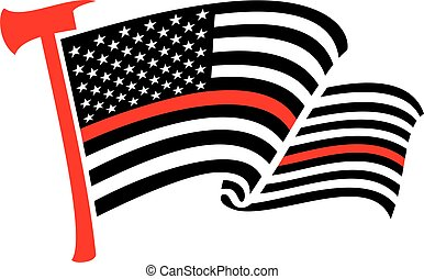 United States of America Thin Red Line (firefighter) flag with axe