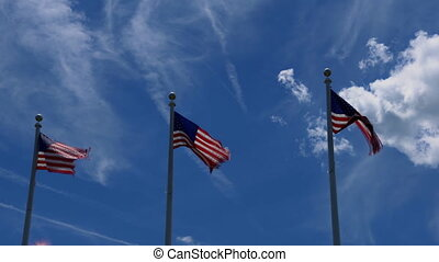 United States of America USA flag with ireworks on the...