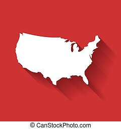 united states of america usa white map silhouette with gradient long shadow effect isolated