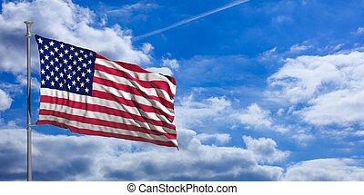 United States of America waving flag on blue sky. 3d illustration