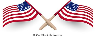 United States of America windy waving flag crossed template with shadow 3d vector illustration eps10 on white background. USA Independence day logo, national symbol.
