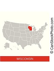 United States of America with the State of Wisconsin selected. Map of the USA vector illustration