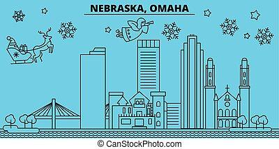 United States, Omaha winter holidays skyline. Merry...