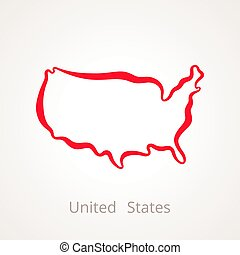 United States - Outline Map - Outline map of United States ...