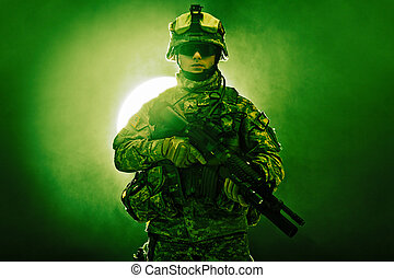 United States paratrooper airborne infantry in the smoke