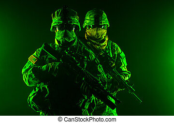 United States paratroopers airborne infantry in the smoke