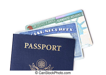 United States passport, social security card and resident card isolated on white background. Immigration concept