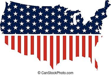 United States patriotic map graphic. Vector design illustration