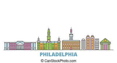 United States, Philadelphia line cityscape, flat vector. Travel city landmark, oultine illustration, line world icons