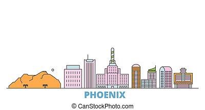 United States, Phoenix line cityscape, flat vector. Travel city landmark, oultine illustration, line world icons