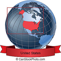 United States, position on the globe Vector version with separate layers for globe, grid, land, borders, state, frame; fully editable