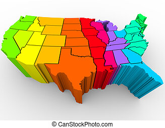 A map of the United States in a rainbow of colors, symbolizing the diverse range of cultures that make up the nation