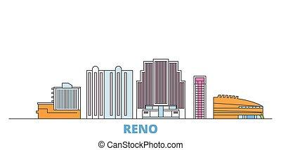 United States, Reno line cityscape, flat vector. Travel city landmark, oultine illustration, line world icons