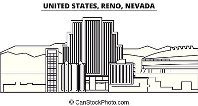 United States, Reno, Nevada line skyline vector illustration. United States, Reno, Nevada linear cityscape with famous landmarks, city sights, vector design landscape.