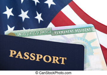 United States resident card, immigration concept
