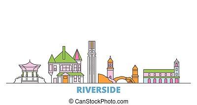 United States, Riverside line cityscape, flat vector. Travel city landmark, oultine illustration, line world icons
