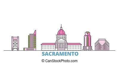 United States, Sacramento line cityscape, flat vector. Travel city landmark, oultine illustration, line world icons