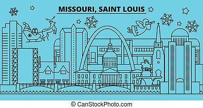 United States, Saint Louis winter holidays skyline. Merry Christmas, Happy New Year decorated banner with Santa Claus. United States, Saint Louis linear christmas city vector flat illustration