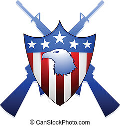 United States shield with eagle and M16 rifles