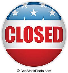 United States Shutdown Government Button