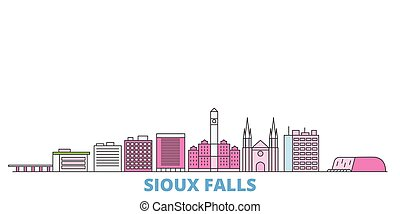 United States, Sioux Falls line cityscape, flat vector. Travel city landmark, oultine illustration, line world icons