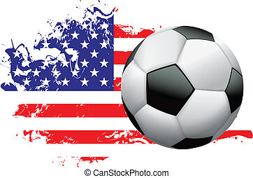 Soccer ball with a grunge flag of the United States of America. EPS 10. File contains transparencies and gradient mesh. High resolution 5000 x 3864 px jpg included.