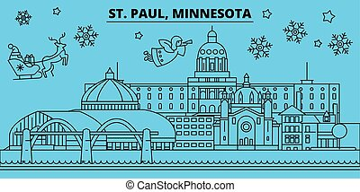 United States, St. Paul winter holidays skyline. Merry Christmas, Happy New Year decorated banner with Santa Claus. United States, St. Paul linear christmas city vector flat illustration
