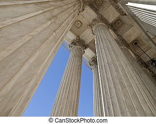 United States supreme court building columns in Washington DC.