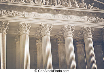 United States Supreme Court Pillars of Justice and Law with Retr