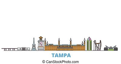 United States, Tampa line cityscape, flat vector. Travel city landmark, oultine illustration, line world icons