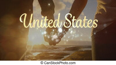 United States text and couple by the beach 4k