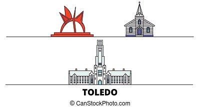 United States, Toledo flat landmarks vector illustration....