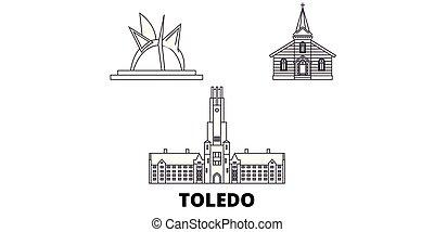 United States, Toledo line travel skyline set. United...