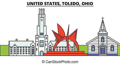 United States, Toledo, Ohio. City skyline, architecture,...