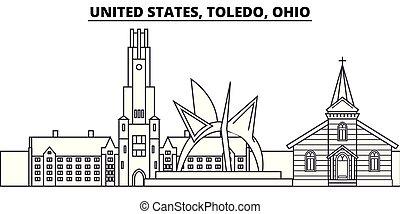 United States, Toledo, Ohio line skyline vector...