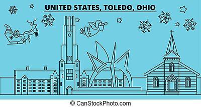 United States, Toledo winter holidays skyline. Merry...
