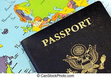 Travel Passport - United States Travel Passport With Map