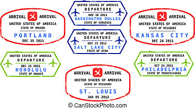 United States - Travel stamps from USA. Grungy stamps (not...