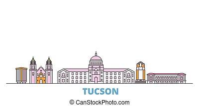 United States, Tucson line cityscape, flat vector. Travel city landmark, oultine illustration, line world icons